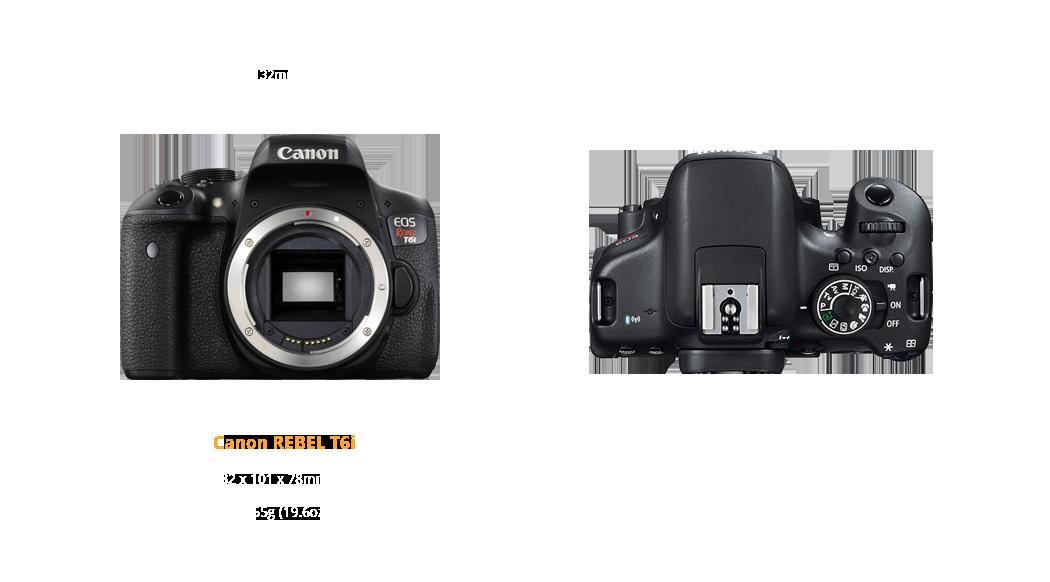 Canon Rebel T6i dimensions